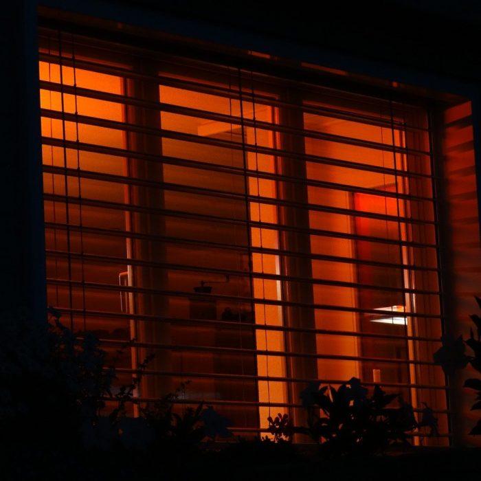 red light, window, dusk